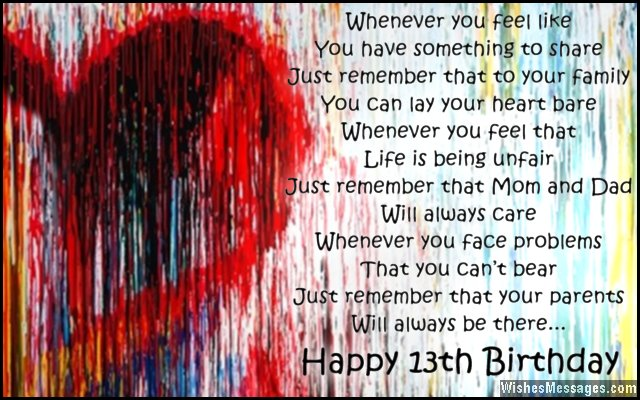 13th Birthday Wishes For Son Or Daughter Wishesmessages Com