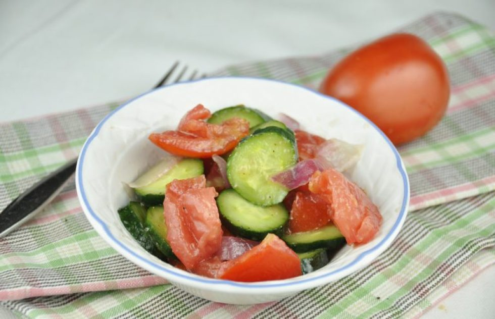 Tomato, Onion & Cucumber Salad {Wishes & Dishes}
