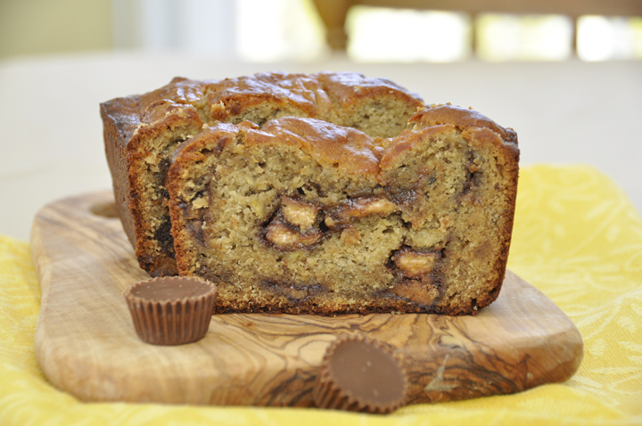 Reeses Peanut Butter Banana Bread {Wishes & Dishes}