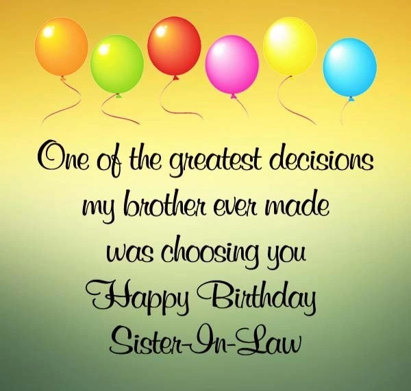 Best 20 Happy Birthday Wishes For Sister In Law Welcome Wishes
