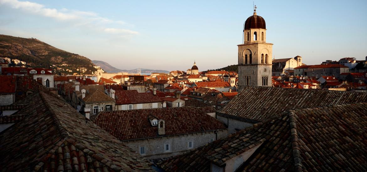 Dubrovnik roofs at sunset