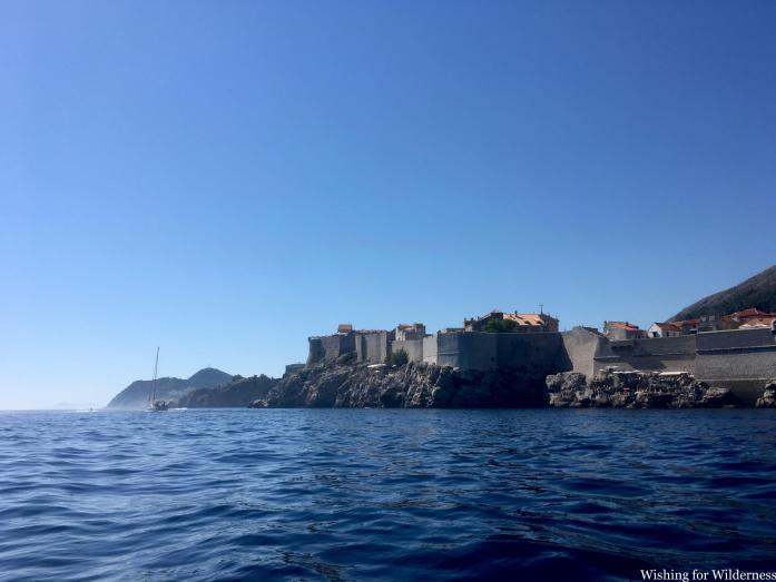 View of the Old City in Dubrovnik from a Jet Ski