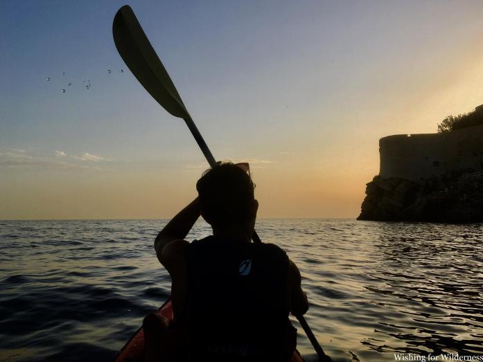 Kayaking in Croatia at sunset