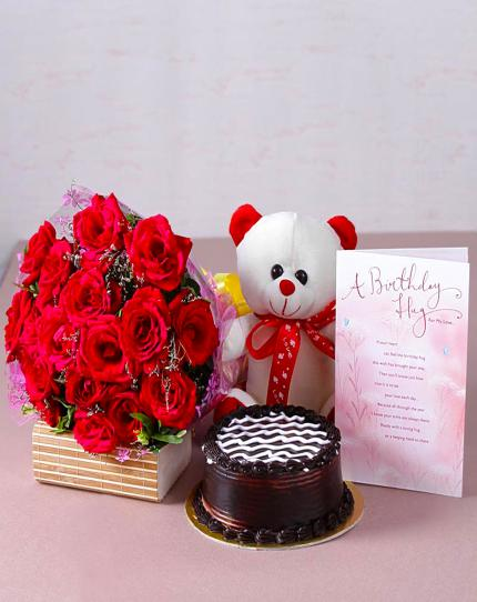 Combo gift cake flowers teddy bear birthday card wishing shop combo gift cake flowers teddy bear birthday card negle Images