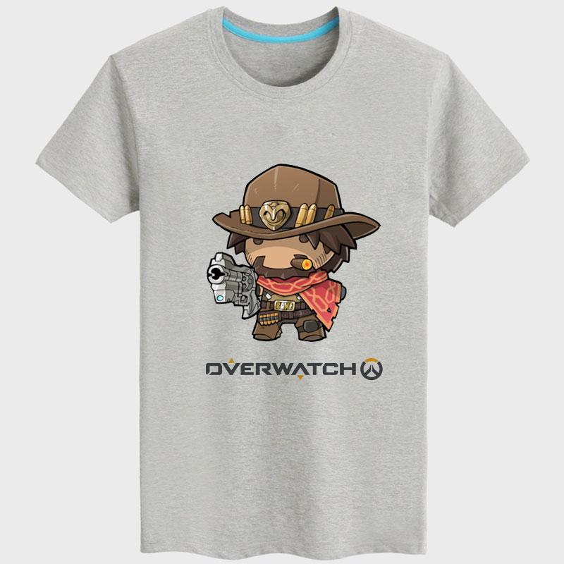 Cartoon Overwatch Mccree Tee Black Short Sleeve Couple T