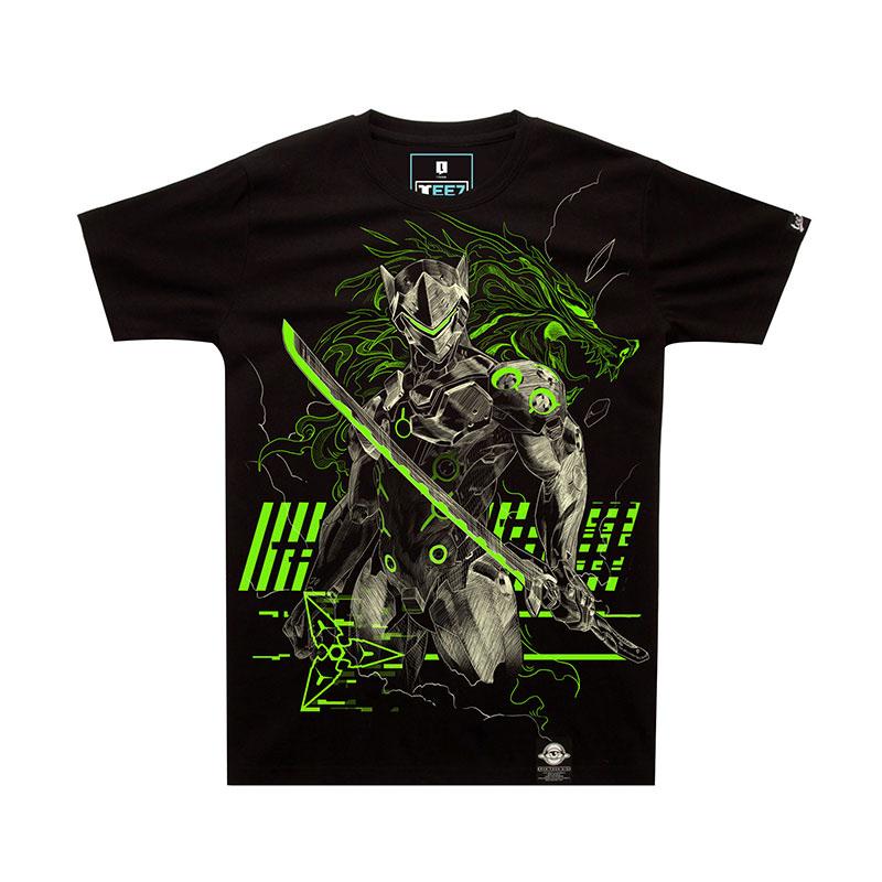 2016 New Luminous Blizzard Overwatch Genji T Shirts Black