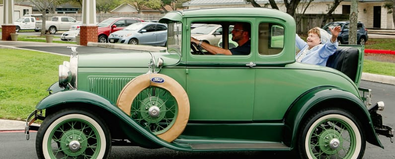 Caren Takes A Ride In A Rumble Seat Wish Of A Lifetime