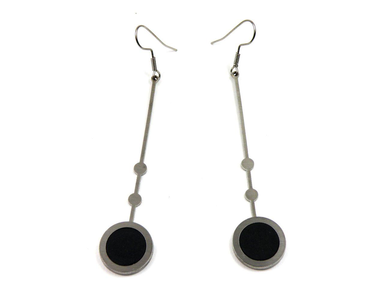 Ohrringe Edelstahl mit Fimo Länge 8 cm Schwarz