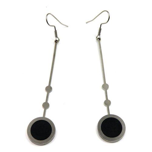 Ohrringe Edelstahl mit Fimo Länge 8 cm