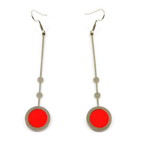 Ohrringe Edelstahl mit Fimo Länge 8 cm rot