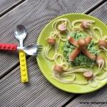"""Spaghetti dla dzieci """"ośmiornica na zielonej plaży"""""""