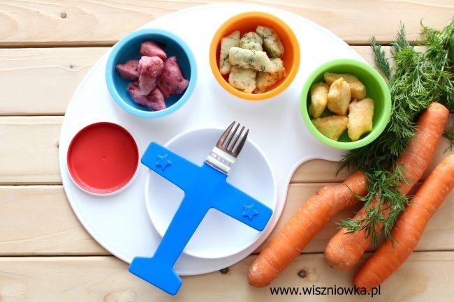Kolorowe kopytka z warzywami.