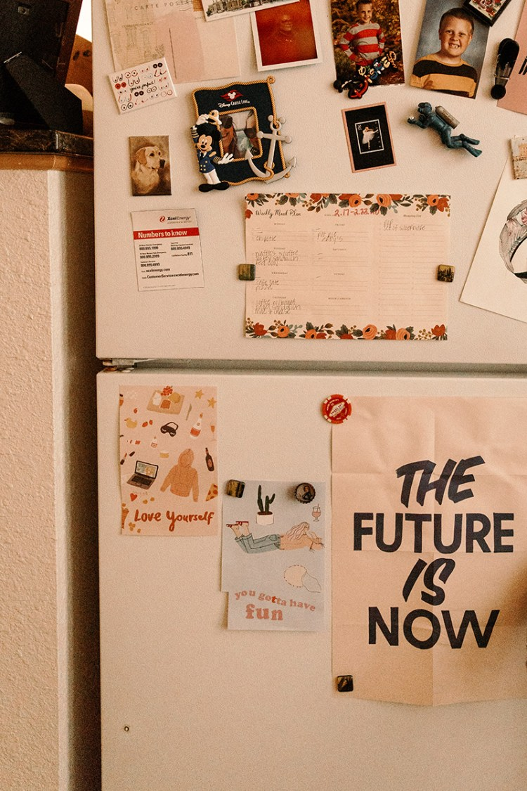 fridge with inspirational quotes studio apartment wit & delight