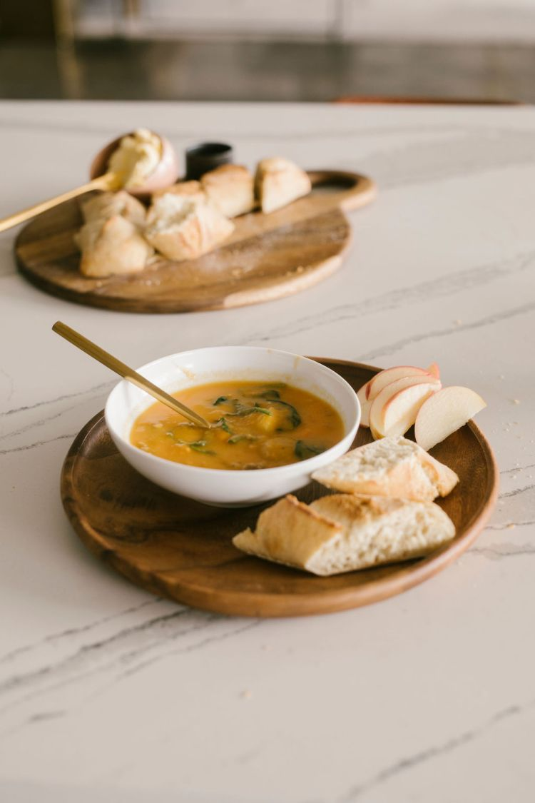 Easy Creamy Sweet Potato Soup Recipe with Apples and Crusty Bread
