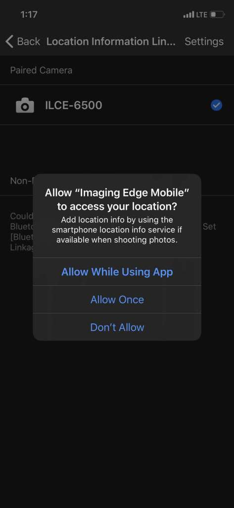 screenshot of imaging edge mobile asking when you want to allow access to location