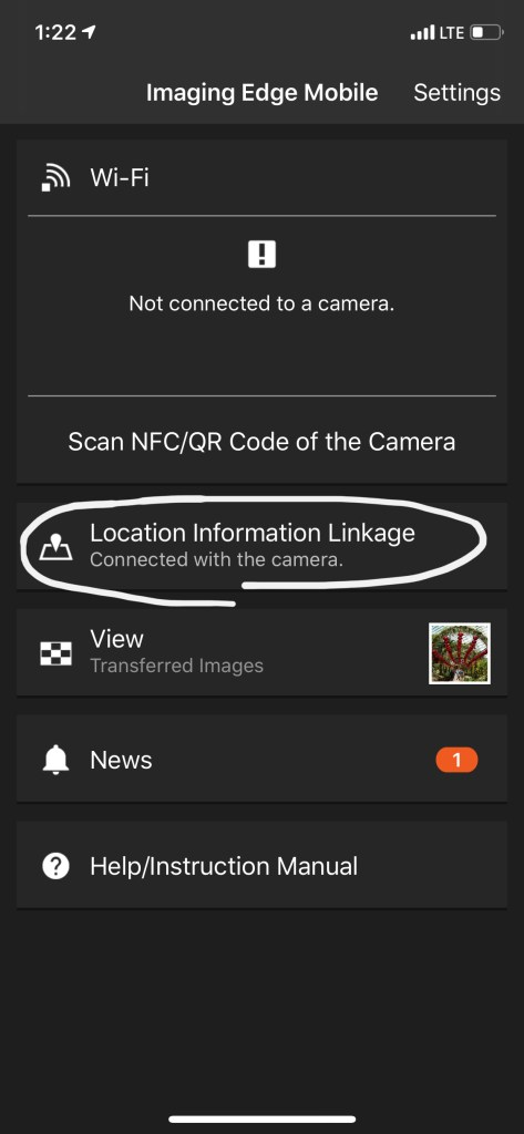 screenshot of a successful bluetooth connection between Sony a6500 and smartphone