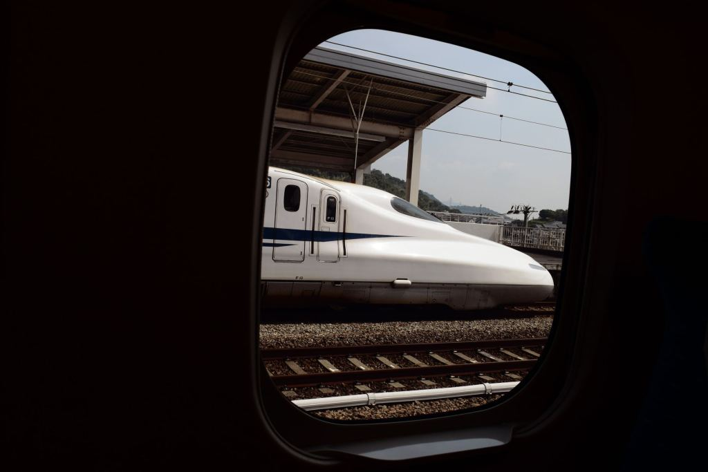 picture of shinkansen through train window