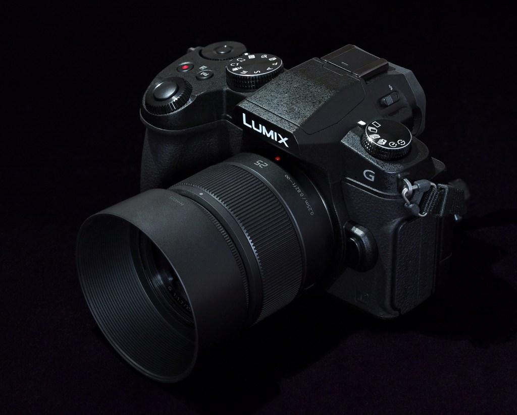 photo of black camera on a black background