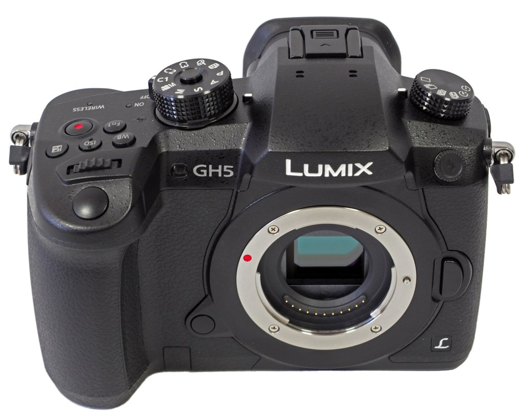 photo of black panasonic camera with white background
