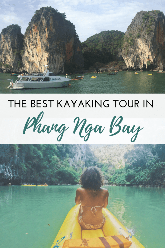 Pinterest image for blog post about kayaking in Phang Nga Bay