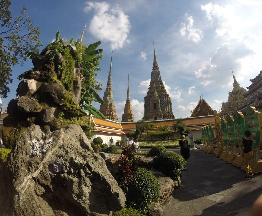 Pagodas at the Temple of the Reclining Buddha, taken on GoPro Hero 3