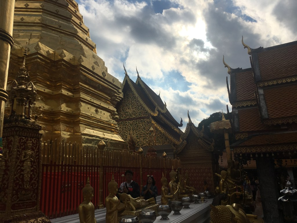 Landscape of beautiful gold buildings at Wat Doi Suthep in Chiang Mai, Thailand.