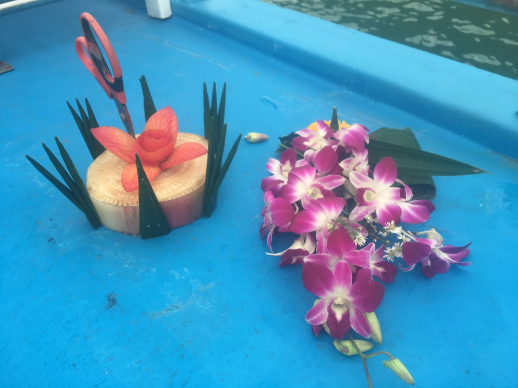 Materials for Loy Krathong ceremony in Phang Nga Bay, Thailand.