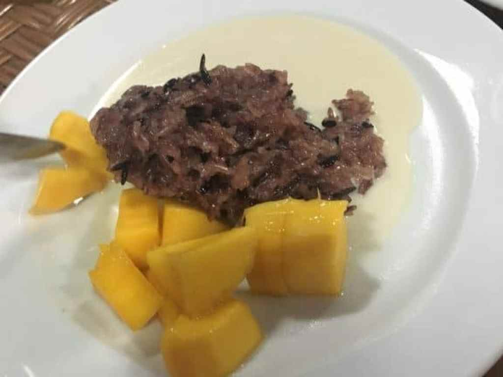 Delicious Mango Sticky Rice at May Kaidee cooking school in Bangkok, Thailand.