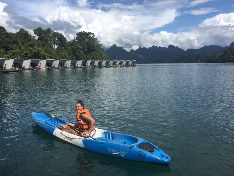 Going kayaking on Cheow Lan Lake at Phupa Waree Floating Bungalows in Khao Sok.