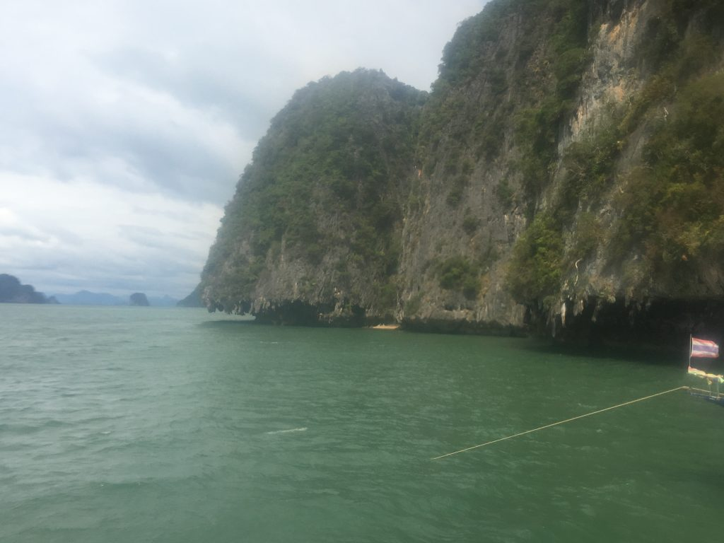 Limestone formations in Phang Nga Bay, Thailand during kayak tour.