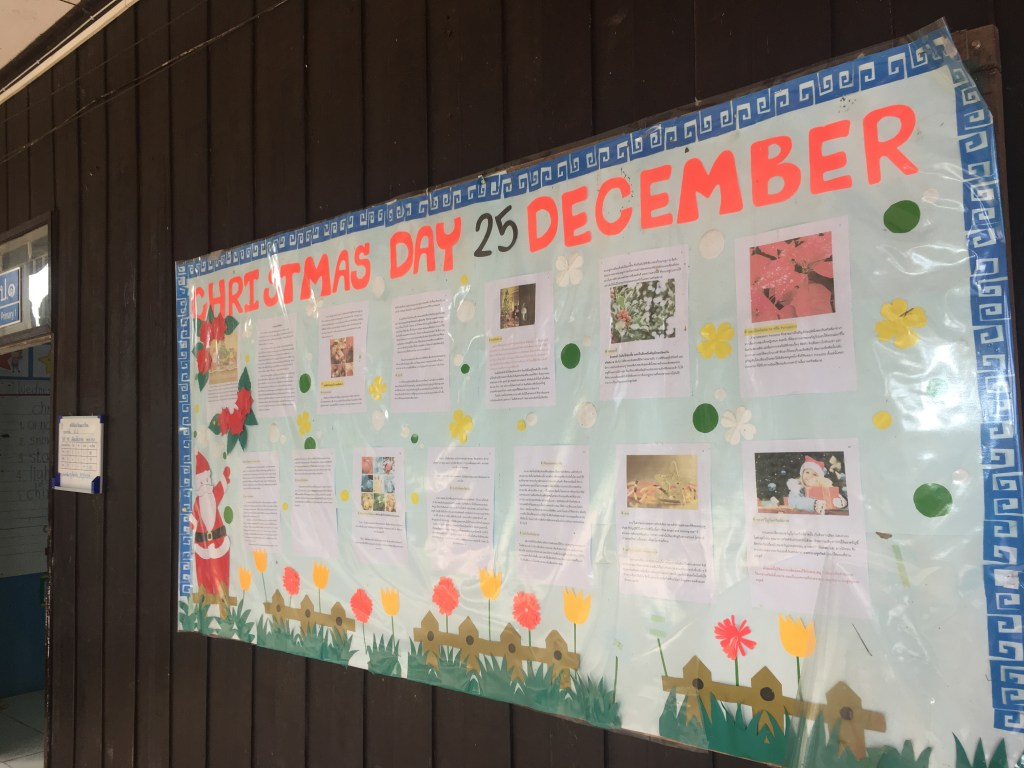 Photo of a board detailing the concept of Christmas at an elementary school at hill tribe village in Chiang Mai, Thailand