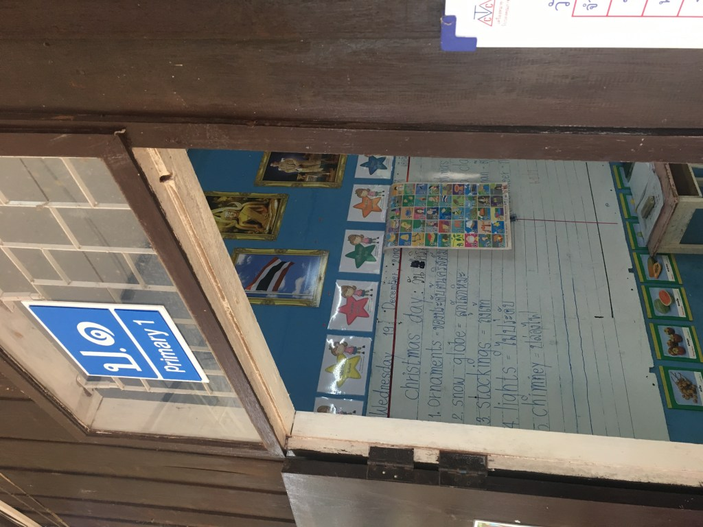 Photo of doorway to an elementary school classroom at hill tribe village in Chiang Mai, Thailand