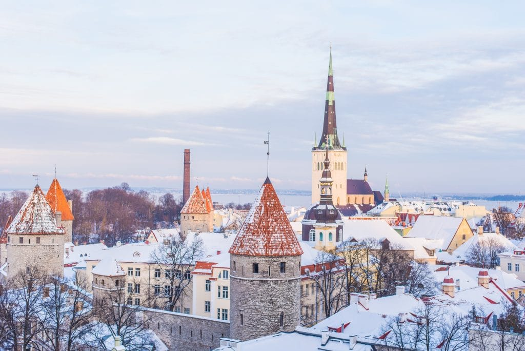 Tops of buildings in Old Town Tallinn, Estonia by Ilya Orehov