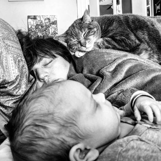 My baby, my wife, and my cat all enjoy some shut-eye.