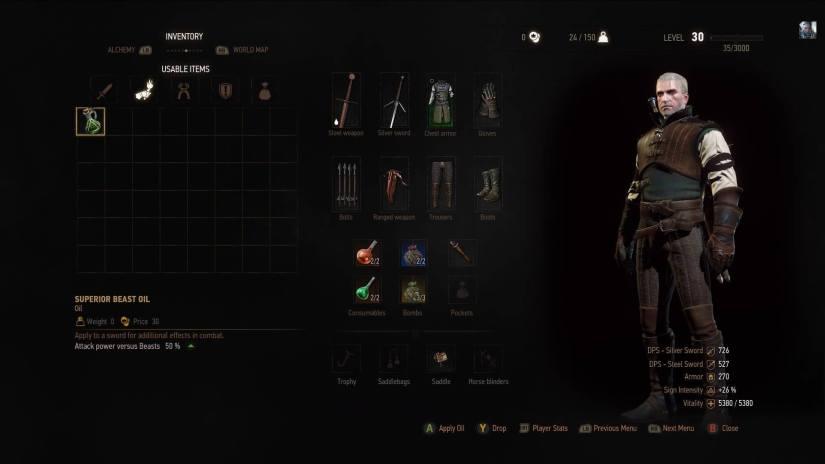 Witcher 3: Wild Hunt Inventory user interface