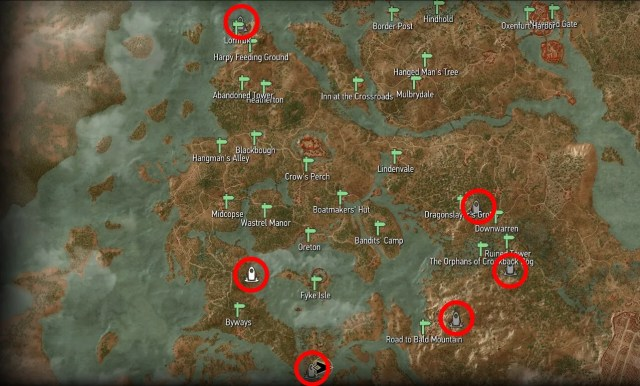 Witcher 3 - Velen Place of Power Map Locations