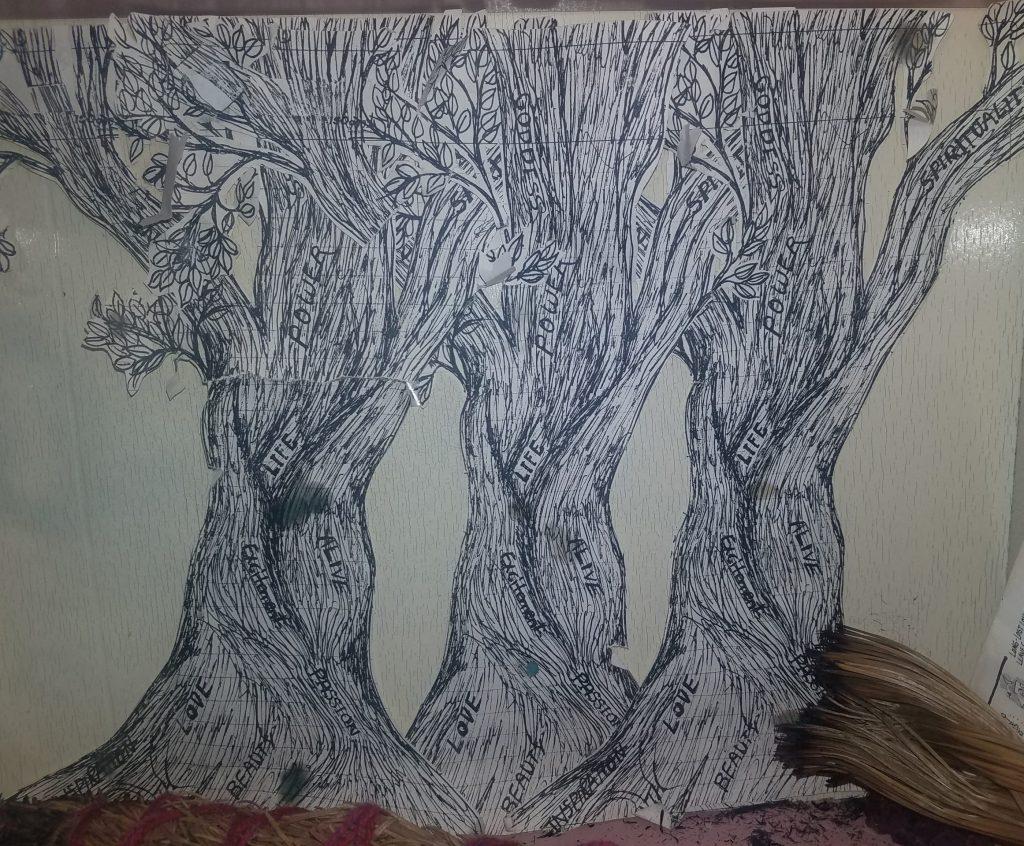 Three trees (c)1995 Sophia kelly