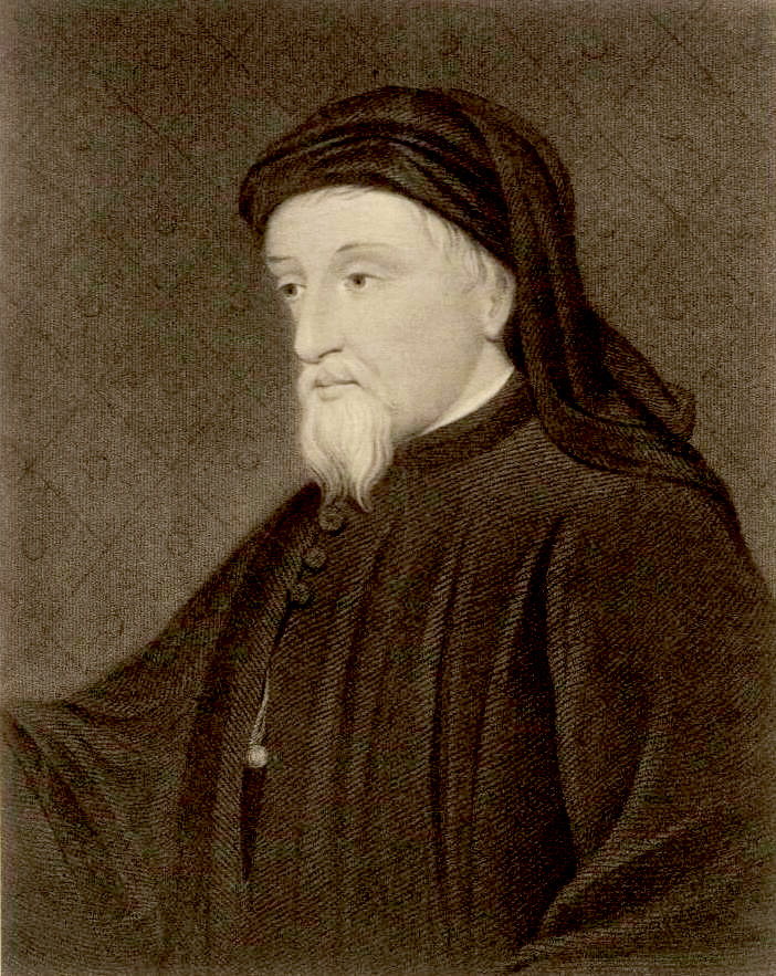 A portrait from the Welsh Portrait Collection at the National Library of Wales. Depicted person: Geoffrey Chaucer – 14th century English poet and author