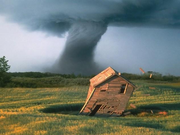 tornado and house