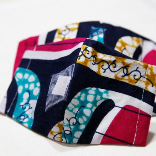 🤝完売🤝【夏 リネンマスク】アフリカンプリントマスク 親子ペア #11-5 バランスの取れた色づかいのお洒落マスク!