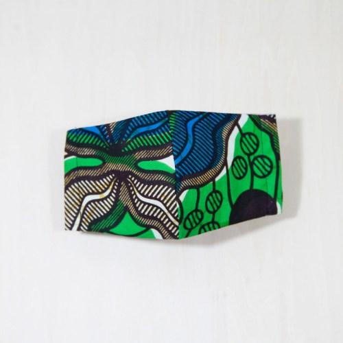 🤝完売🤝【夏 リネンマスク】アフリカンプリントマスク #7-3 新緑の季節にグリーンを