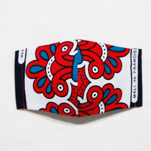 🤝完売🤝【夏 リネンマスク】アフリカンプリントマスク #14-1-6 色バランスの良さでオシャレ感の高い一枚