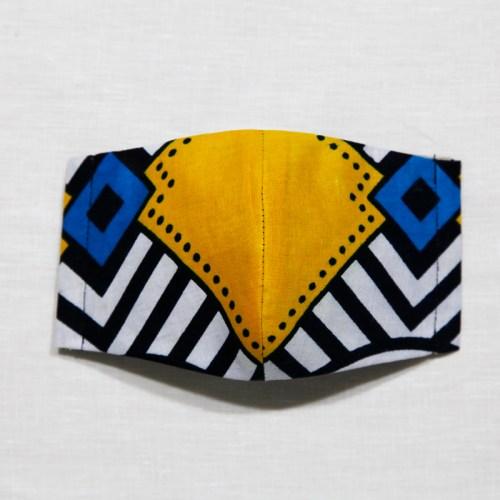 【夏 リネンマスク】アフリカンプリントマスク #14-2-7 ペリカンのよう?綺麗な配色