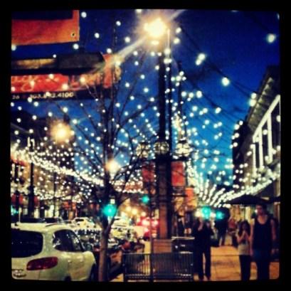 A city lit up.