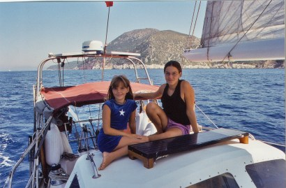 """Jess & I hanging out on the dodger with the """"toe"""" of Italy in the background"""