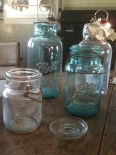 Blue Mason Jars Make My Heart Smile