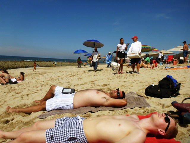 The boys sun tanning in Sayulita