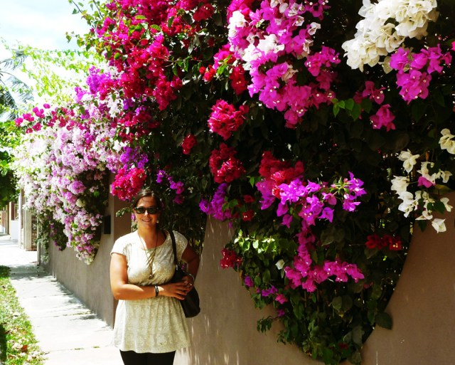 Leah with flowers in Barra de Navidad