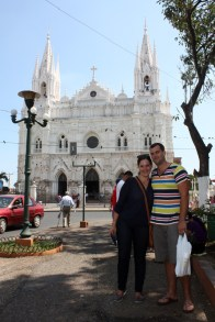 Leah & Jon in Santa Ana, in front of the cathedral