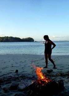 beach fire in Isla Gamez